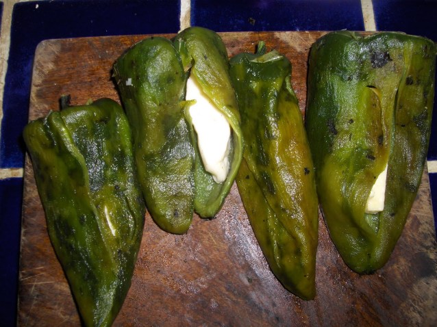 Chiles Rellenos -- Poblano Chiles Stuffed with Cheese and Served with Tomato Sauce -- A Mexican Classic
