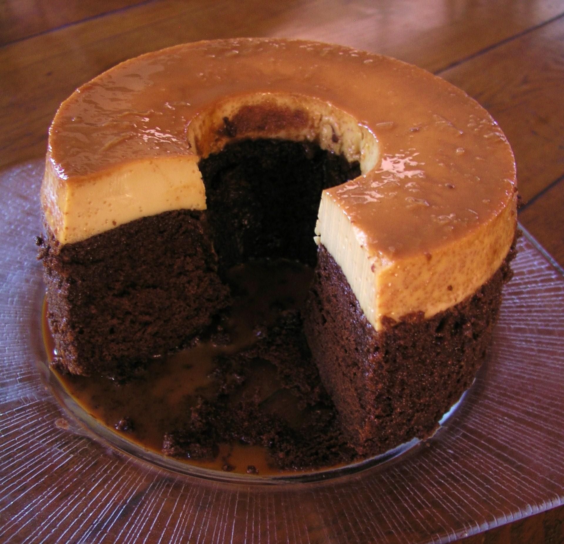 Mexican Chocolate Caramel Flan Cake