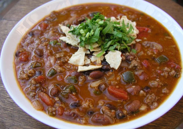 Chili con Carne with Black Beans and Poblano Chiles